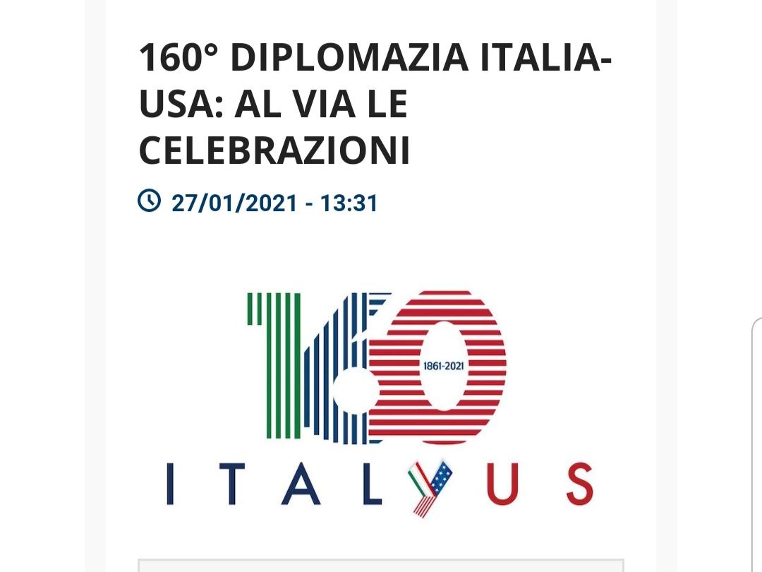 160° Diplomazia Italia-Usa : al via le celebrazioni