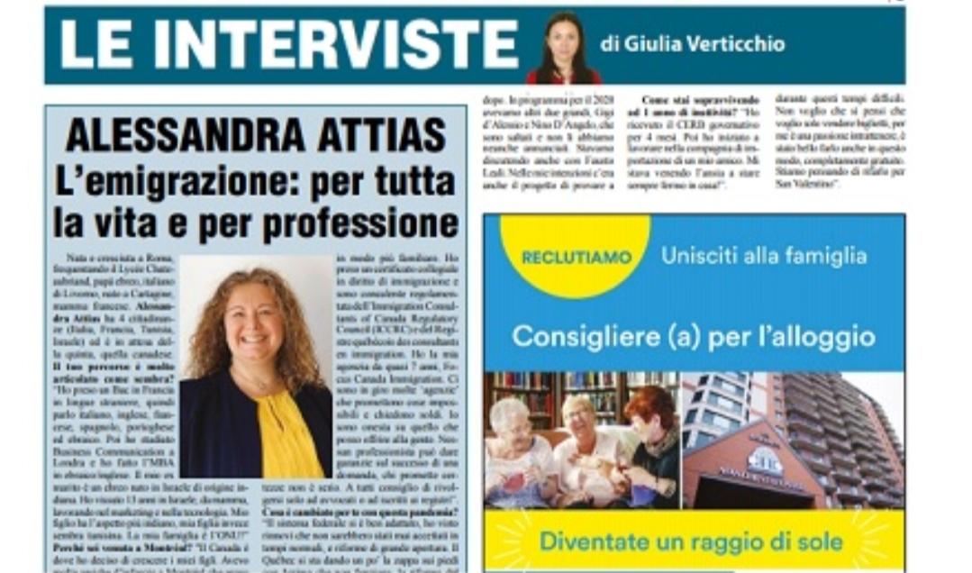 L'emigrazione per tutta la vita e per professione: a colloquio con Alessandra Attias
