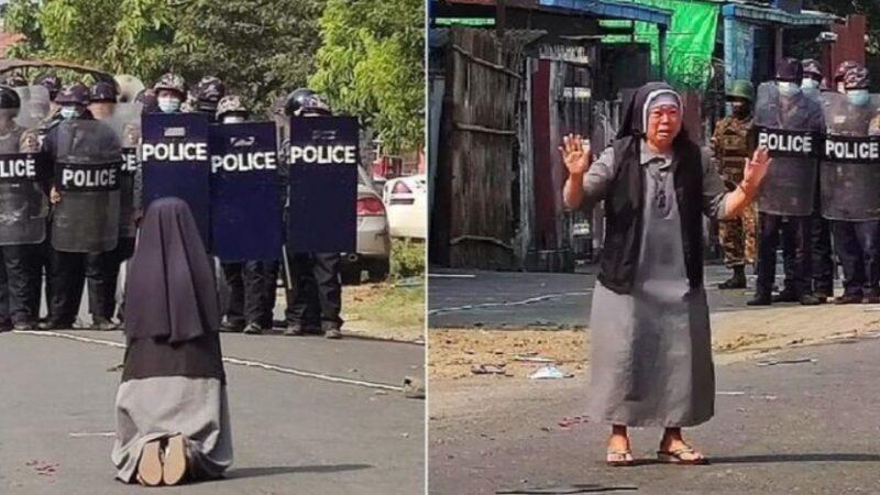 Birmania. Suor Ann Nu Thawng si inginocchia e chiede alla polizia di non sparare ai giovani