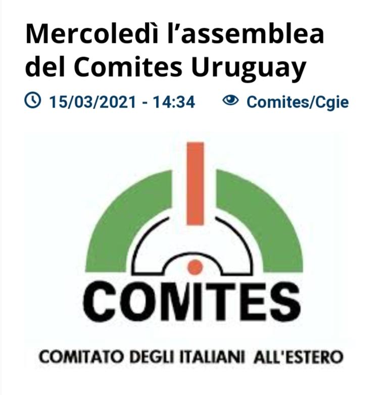 Mercoledì l'assemblea del Comites Uruguay