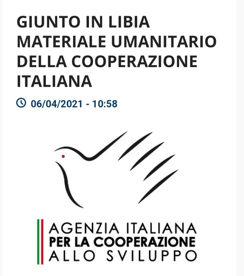 Giunto in Libia materiale umanitario della cooperazione italiana