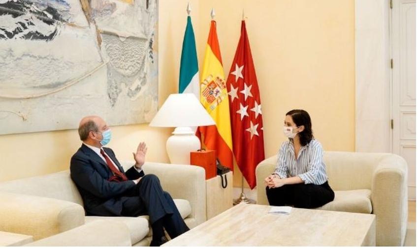 L'Ambasciatore Guariglia incontra la Presidente della Comunidad de Madrid